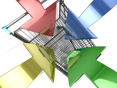3D Shopping cart with arrow on white background Stock Photo - 18337741