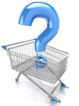Shop question with shopping cart Stock Photo