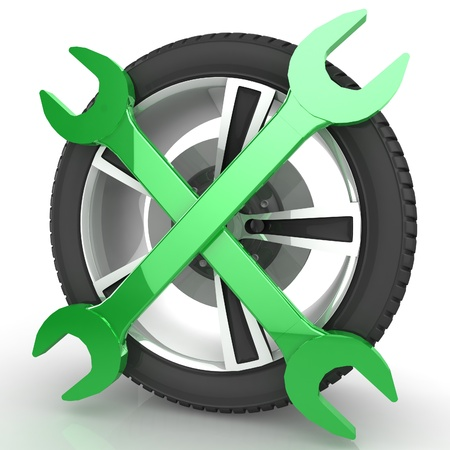vulcanize: Car service concept  Wheel and Tools  Isolated 3D image Stock Photo