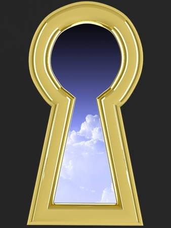 3d keyhole. Isolated render on black background.
