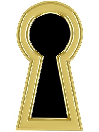 gold keyhole: 3d keyhole. Isolated render on white background.