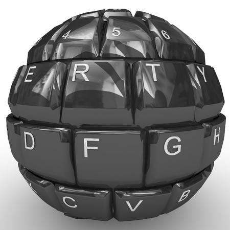 3D keyboard sphere isolated on white background. photo