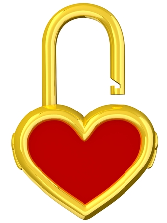 3D Heart lock. Love concept. Isolated on white background. photo