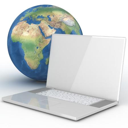 Laptop, wifi and globe. Wifi concept. photo