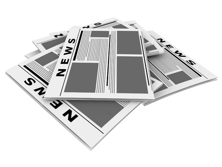 3D render newspapers isolated on white background. photo