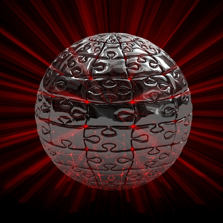 3d illustration spherical puzzle explode. Isolated on black. illustration