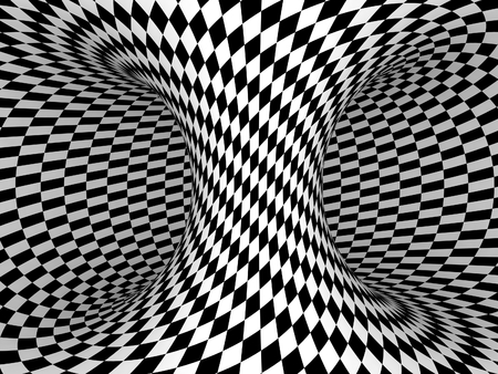 three dimensional background: Black and White Checkers Projection on 3D Torus.
