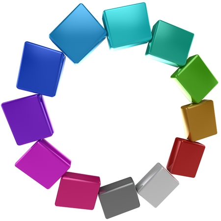 Colored boxes. 3D rendered image. Abstract design. photo