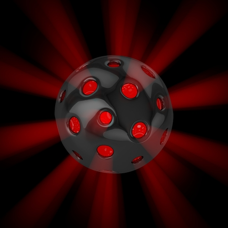 hollow: 3D hollow ball isolated with glow rays Stock Photo