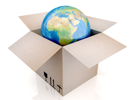 conveyance: 3D Globe and box. Stock Photo