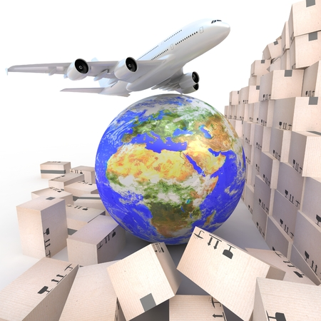 air speed: Airliner with a globe and boxes on white