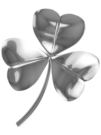 fortunateness: 3D fourleaf clover background. 3D isolated render. Stock Photo