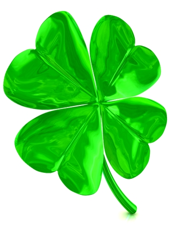 3D fourleaf clover background. 3D isolated render. Stock Photo