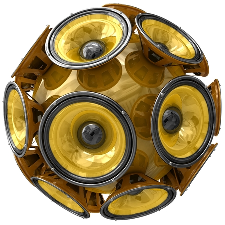 3D audio speakers sphere isolated on white background. photo