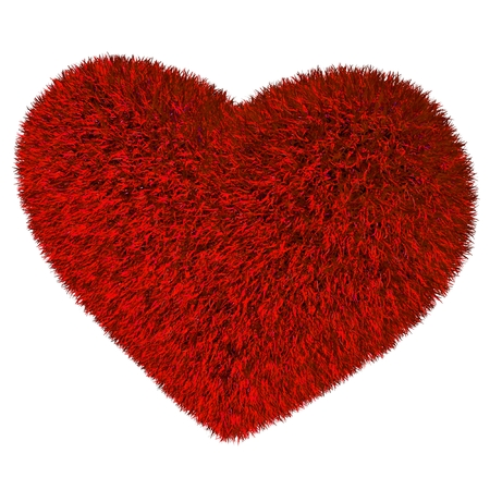 red grass: Red grass heart. Isolated render on white. Stock Photo