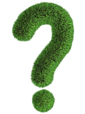 Grassed question symbol. Isolated render on white. Stock Photo