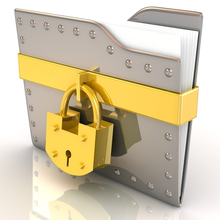 dir: 3D folder and lock. Data security concept.