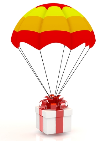 3D gift and parachute. Isolated on white background. photo