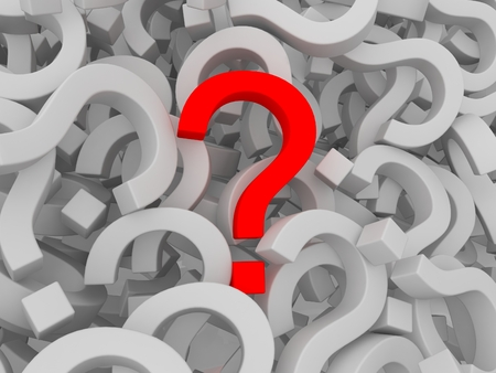Many question marks - one is red on white background photo