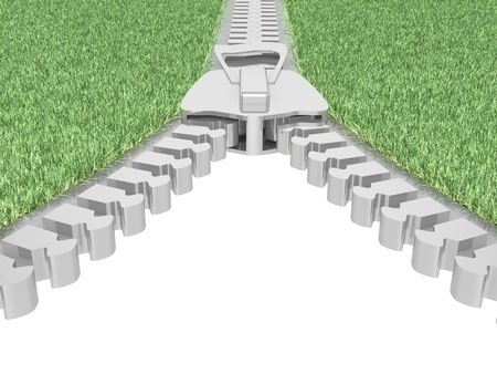 Zipper frame with grass on white. 3D render. photo