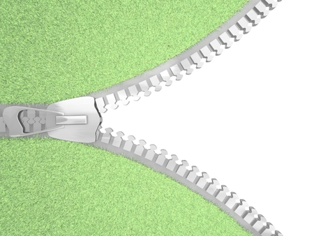 unbuttoned: Zipper frame with grass on white. 3D render. Stock Photo