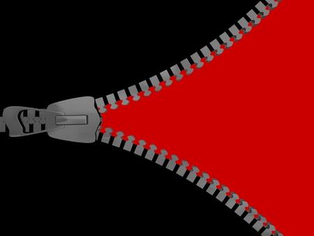 3D Zipper on white background. 3D render. photo
