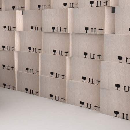 stockpile: 3D cardboard boxes. Render isolated on white.