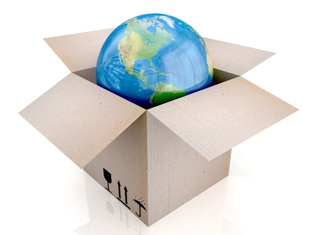 3D Globe and box.  photo