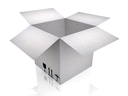 3D cardboard box. Render isolated on white. Stock Photo