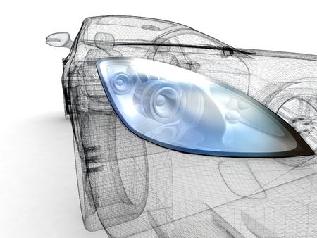 Car design background. 3D render. Isolated image.