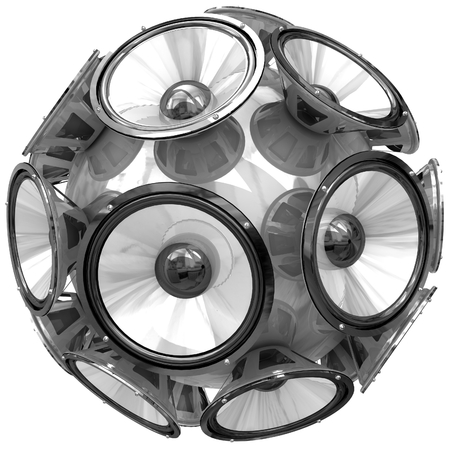 sub woofer: 3D audio speakers sphere isolated on white background.