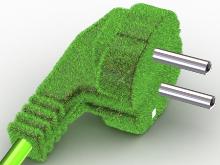 3D Grass covered electrical plug - renewable energy concept photo