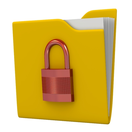3D folder and lock. Data security concept. photo