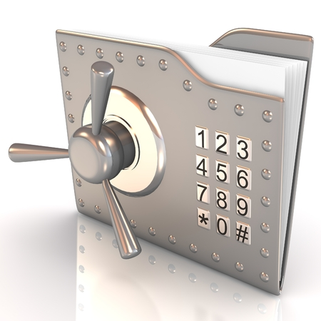 3D folder and lock. Data security concept.
