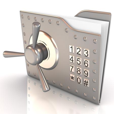 secret code: 3D folder and lock. Data security concept.