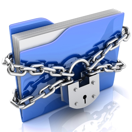 3D folder locked by chains isolated over white. photo