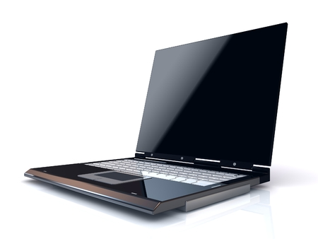 Laptop isolated on white background. Business work. Stock Photo
