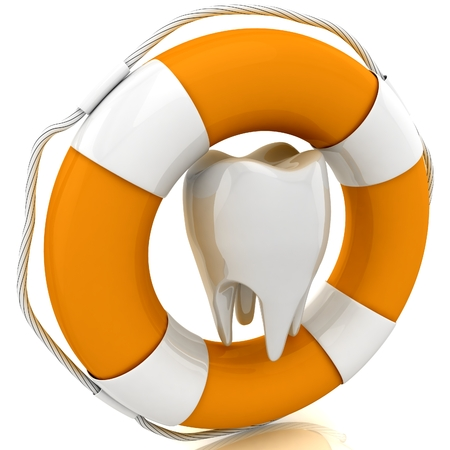 lifejacket: Tooth help. Isolated on white background. 3D render.