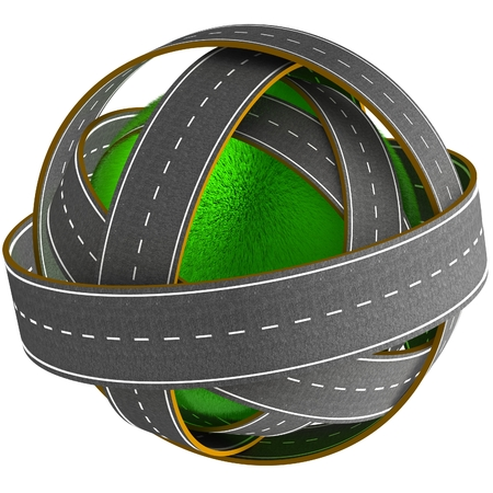 3D grass ball with many roads. 3D render image. Abstraction. photo