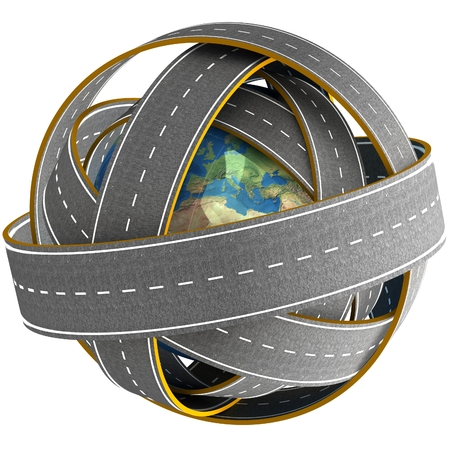 drive around the world: 3d Globe and roads around it. Elements of this image furnished by NASA.