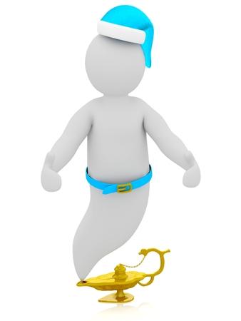 devil's bones: 3D Gin puppet character with Devils bones. Stock Photo