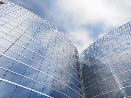 corporate building: Skyscrapers cloudscape background. 3D image. 3D render. Stock Photo