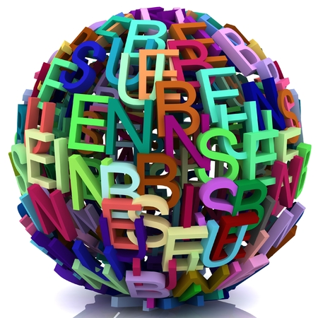 resourcefulness: Random letters from word business forming a sphere