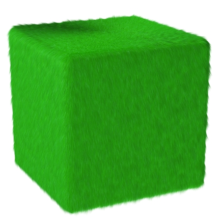 3D green grassfur cube. Isolated on white background. 3D render. photo
