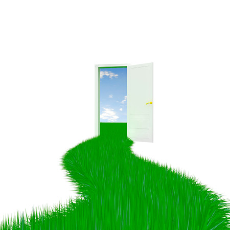 Grass doorway. Isolated on white background. 3D render.