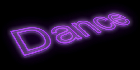 3d dance: 3D Neon dance text. Isolated on black background. 3D render.