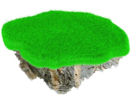 Little flying grass island. Empty lawn. 3D render. photo