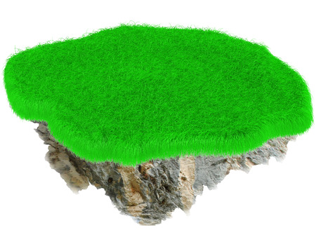 reclusion: Little flying grass island. Empty lawn. 3D render.