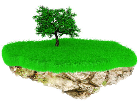recluse: 3D Little flying grass island with a tree.