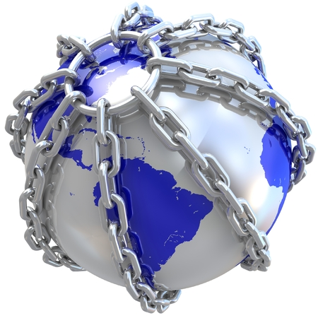 Earth globe close in chain. 3D render. photo